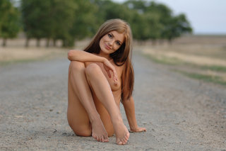 Nice Girl In A Short White Dress Stay Nude And Poses On The Country Road. - Picture 8