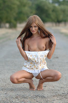 Nice Girl In A Short White Dress Stay Nude And Poses On The Country Road. - Picture 2